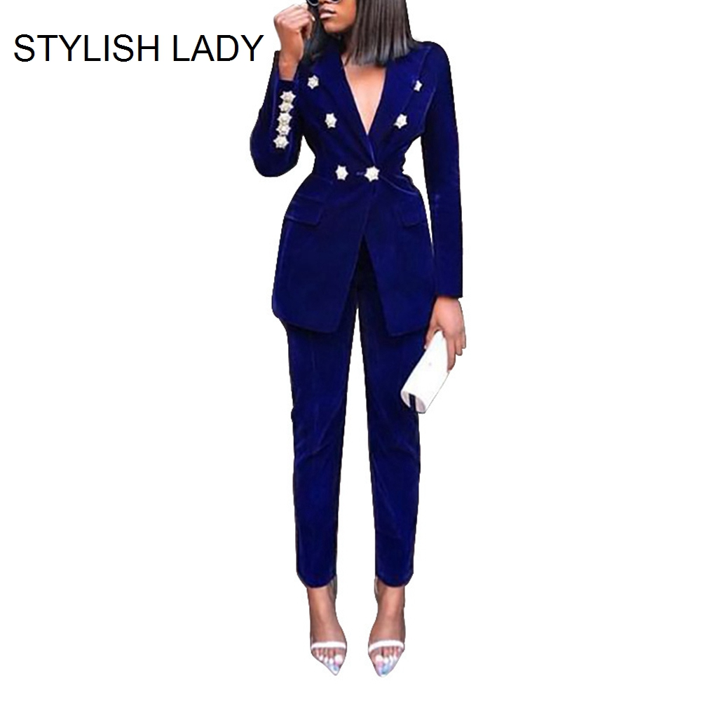 STYLISH LADY 2 Piece Blazer Suits 2019 Autumn Winter Women Double Breasted Blazer And Long Pant Set OL Work Elegant Outfits