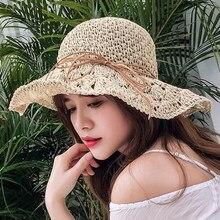 In europa gli stati Uniti Semplice Spiaggia di Estate Cappellini Femminile Casual Panama Cappelli Della Signora Delle Donne di Marca Piatto tesa di Paglia della protezione della ragazza cappello Del sole