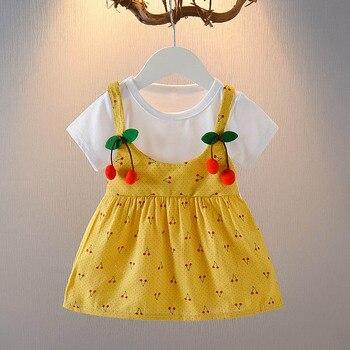 Vestido de princesa de algodón con hermosa cereza para niña recién nacida, ropa de verano de manga corta, vestido infantil niñas
