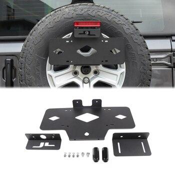 Запасные номерные знаки для шин кронштейн для Jeep Wrangler JL 2018 + рамка металлический автомобильный держатель заднего крепления комплект внешни
