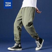 TONLION Fashion Loose Cargo Pants Men Elasticated Waist Drawstring Harem Pants Men Safari Style Casual Trousers Mens 2020 New