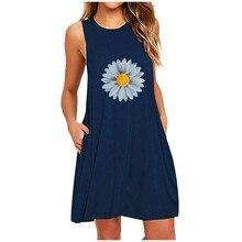 Mini Dress Daisy Pocket Vestidos 40 Womens Casual Summer A-Line Printing Sleeveless -Fashion