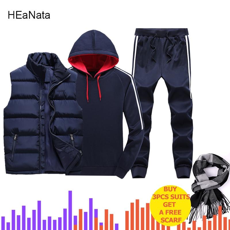 3PCS Hooded Set Men Track Suits Man Winter Thicken Warm Tracksuit 3 Pieces Fur Hooded Jacket+Fleece Hoodies+Pants Men Suit Set