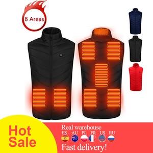 8 Areas Heated Vest Jacket USB Men Winter Electrical Heated Sleevless Jacket Outdoor Fishing Hunting Waistcoat Hiking Vest