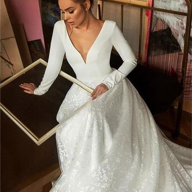Boho Robe De Mariee Vestido Novia Wedding Dress Satin Longue Long Sleeves Robe De Soiree Simple Bride To Be 3
