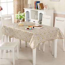 Golden Oilcloth on Table Rectangular Desk Cover Ramadan Tablecloth Waterproof Stain Tablecloths for Kitchen Mantel Impermeable