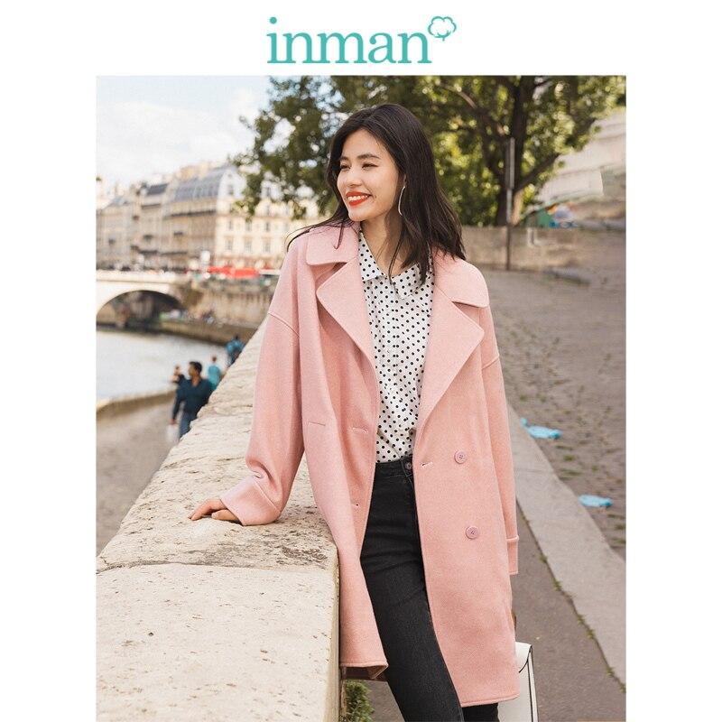 INMAN Winter Solid Big Turn Down Collar Dubble Button Drop-shoulder Sleeve Warm Women Long Woolen Coat