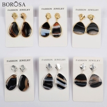 BOROSA Design 5Pairs Gold/Silver Plating Bezel Freefrom Shape Natural Onyx Agates Drop Earring Mixed Colors Lady Earrings WX1178 borosa 4pairs gold silver bezel drop shape agates slice drop earring gems rainbow agates druzy slice earrings jewelry wx1176