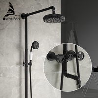 Shower Faucets Matte Black Bathtub Faucet Round Tube Single Handle Top Rain Shower With Slide Bar Wall Water Mixer Tap 20F06R