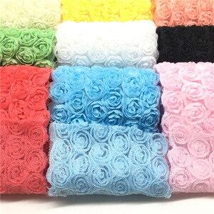 1 ярд/Лот Новые разноцветные 6 ряд кружева Искусственный цветок Роза ширина 3D шифон Вышитые Кружева отделка Лента ткань, аксессуары для DIY