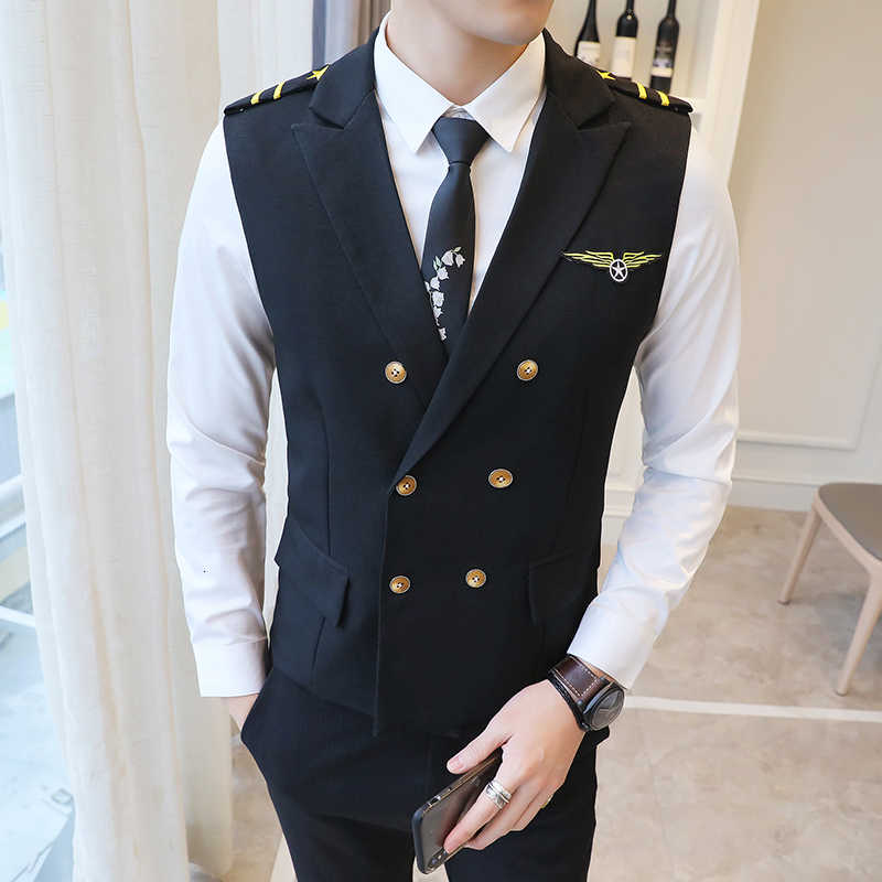 Nieuwe Jurk Vesten Voor Mannen Epaulet Air Minder Vest Double Breasted Werk Uniform Vest Suits Casual Slim Fit Gilet Homme 5XL