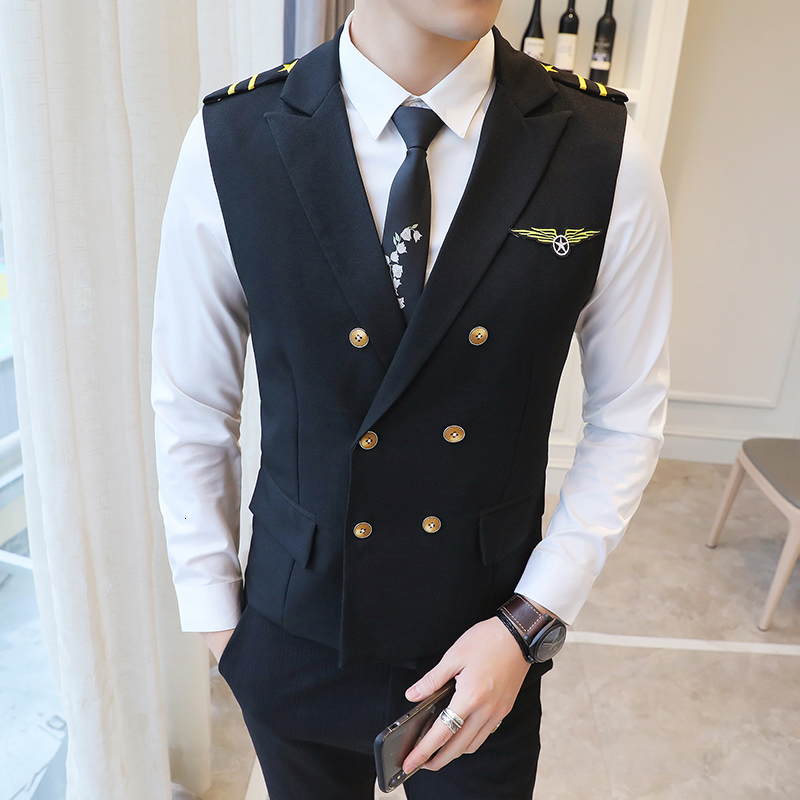 New Dress Vests For Men Epaulet Air Less Vest Double Breasted Work Uniform Waistcoat Suits Casual Slim Fit Gilet Homme 5XL