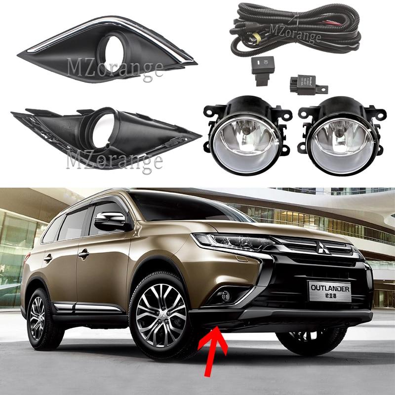 Fog Lights For Mitsubishi Outlander 2016-2019 LED Fog Light Halogen Headlight Frame Foglights Covers Grille Harness Switch Kit