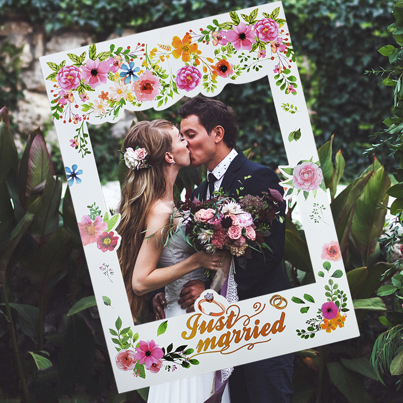 Just Married Wedding Photo Props Wedding Day White Wedding Paper Photo Frame Photobooth Props Bridal Shower Party Decor Supplies