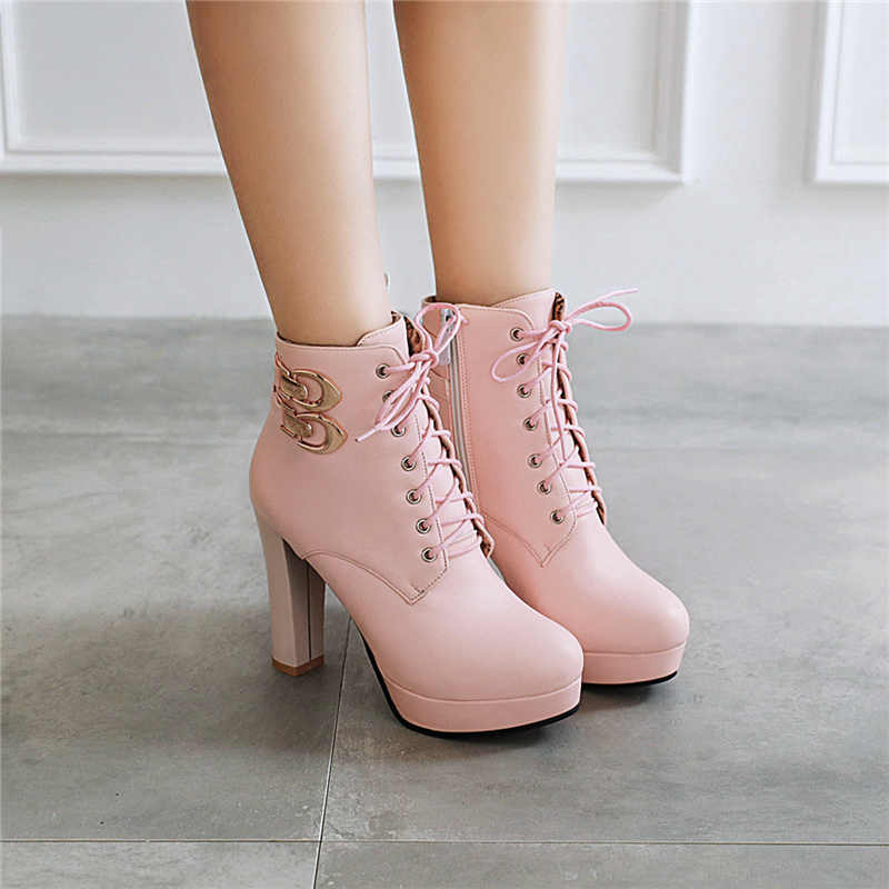 Fashion Pink White Ankle Boots Women