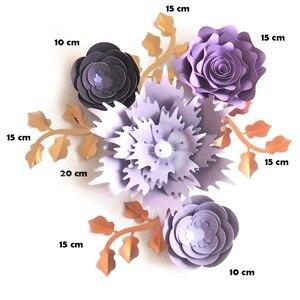 Image 2 - Handgemachte Karton Rose DIY Papier Blumen Blätter Set Für Hochzeit & Event Kulissen Dekorationen Kindergarten Wand Deco Video Tutorials