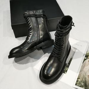 Image 2 - 2020 חדש חם שחור רך עור נשים קרסול מגפי תחרה עד מקרית שטוח נעלי אישה קצר נעלי רכיבה מגפי דירות