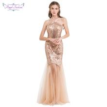 Angel fashions damskie suknie wieczorowe długi formalna V Neck przepuszczalność specjalne Party suknia Cyan 422