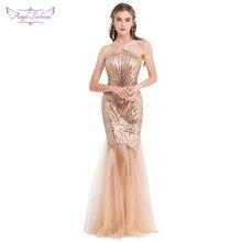 Angel fashions de las mujeres vestidos de noche largo Formal V cuello especiales vestido de fiesta cian 422