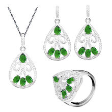 Green Emerald White Zircon Silver Jewelry Set for Women Earrings Ring Necklace Pendant Wedding Jewelry(China)
