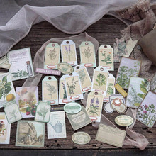 Retro Plant Flower Bird Tag Craft Paper Material Package DIY Creative Note Junk Journal Craft Photo Albums Decoration