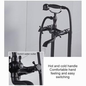 Image 3 - アンティークブロンズフローリング風呂の蛇口ハンドシャワーフロアハンドヘルドシャワー浴槽水ミキサーEL8701