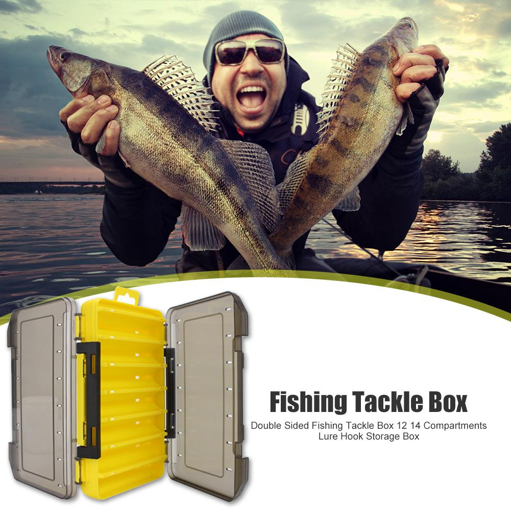 Fishing Tackle Box Double Sided 12 14 Compartments Fishing Accessories Lure Hook Storage Box Accessories High Strength