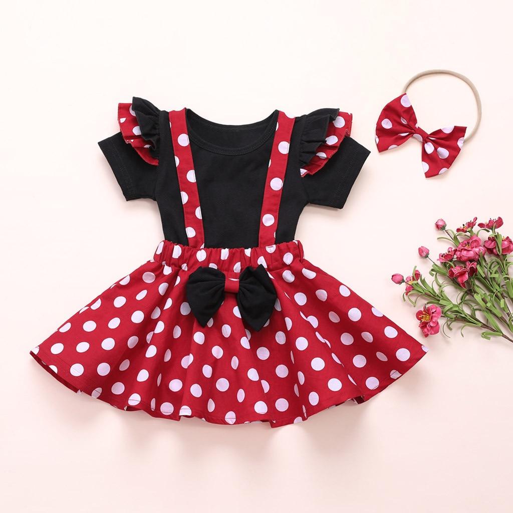 2020 New Toddler Baby Girls T-shirt Tops Bow Polka Dot Suspender Skirt Headband Outfits Set Roupas Kids Clothes детская одежда