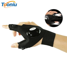 LED flashlight finger light night emergency cotton outdoor sports gloves Used to repair fishing work, etc.