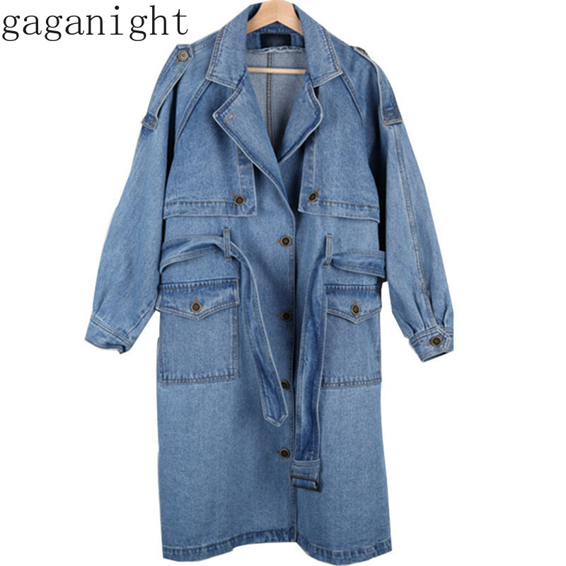 Gaganight Autumn Winter Women Jean   Trench   Sash Pocket Single Breasted Long Denim Coat Loose Casual Korea Outwear Chic Streetwear