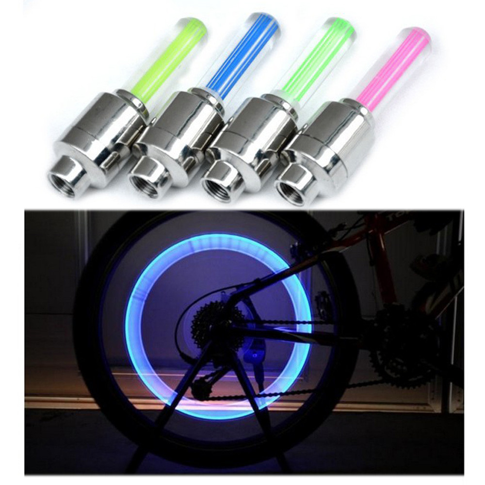 2PCS Bike Car Motorcycle Wheel Tyre Tire Valve Cap Flash LED Light Wheel Lamp Accessories Automatically Flash Light Solid Disk