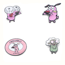 COURAGE The Cowardly Dog Zinc alloy tie pins badges para shirt bag clothes cap backpack shoes brooches medal decoration E0203