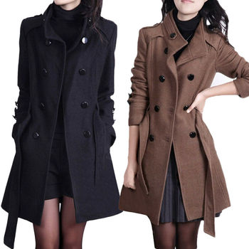 Womens Fashion Loose Winter Warm Long Sleeve Button Button Jacket Coat With Belt фото