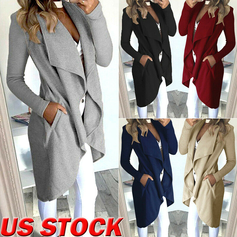 Women's Ladies Loose Long Sleeve Cardigan Trench Turn Down Collar Tops Autumn Female Solid Coat Trench