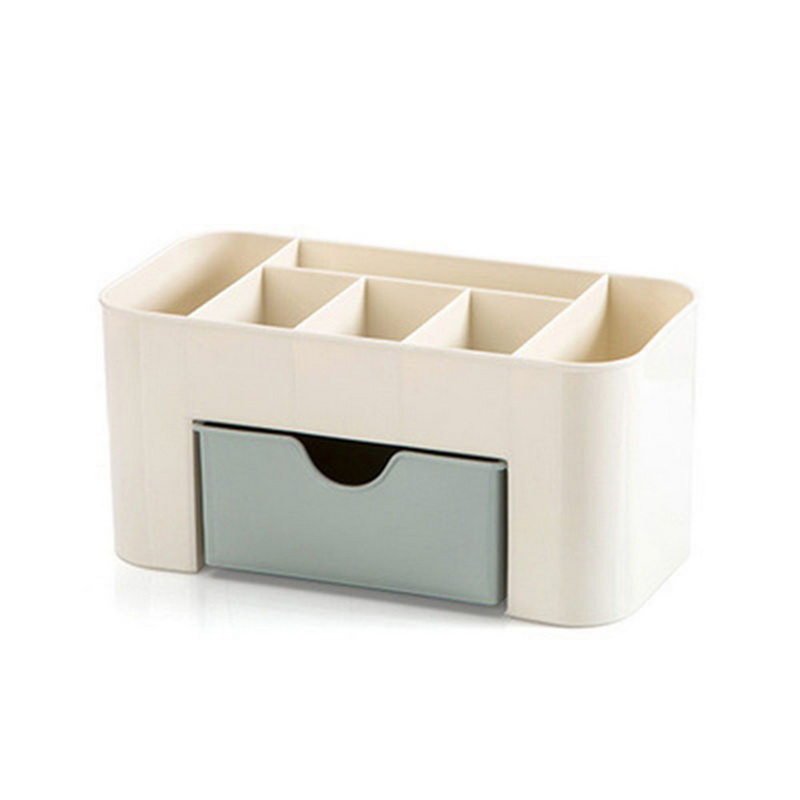 High Quality Plastic Makeup Organizer for Storage of Cosmetics and Makeup Brushes with Compartments and Drawer 3