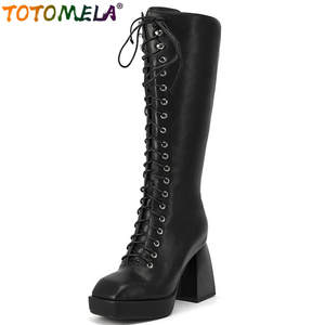 TOTOMELA 2020 big size 43 hot sale genuine leather knee high boots women square toe thick heel platform boots ladies shoes
