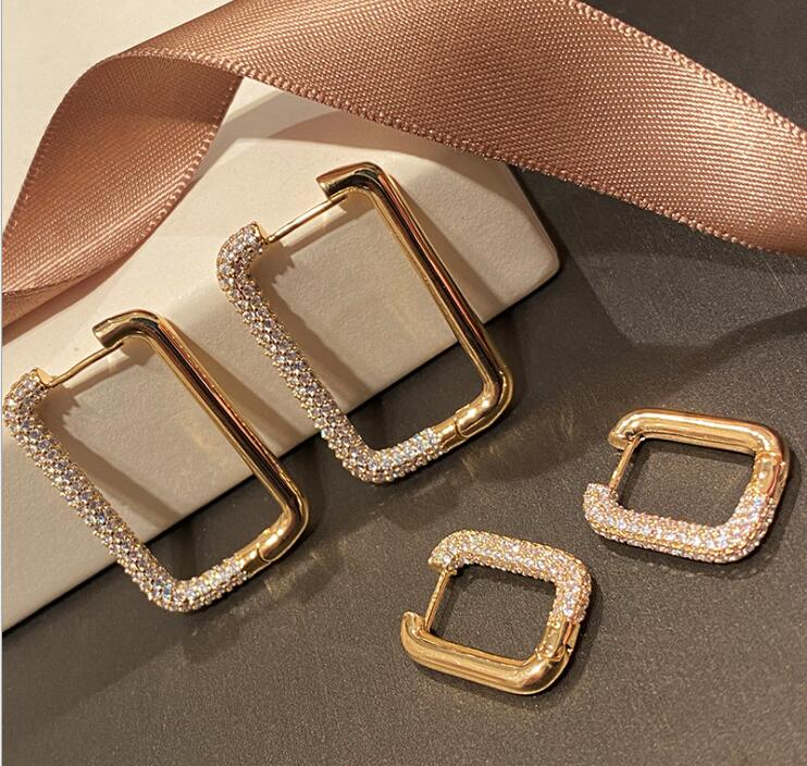 White Rectangular Geometric Earrings Female Simple Wild Women Mosaic Gold Rectangular Geometric Ins Earrings