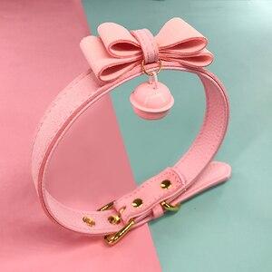 Image 4 - Ошейник из искусственной кожи с заклепками, альтернативный металлический колокольчик чокер, БДСМ, милое ожерелье, интимные игрушки для пар, эротический Косплей