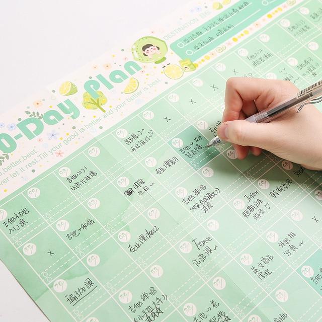 JIANUW Cute cartoon 100 Days planner agenda 2019 2020 kawaii calendar TODO LIST Diet diary office supplies 3