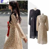 Floral chiffon dress long hot sales women's korea japan style temperament lady v neck vintage button shirt dress retro 10020