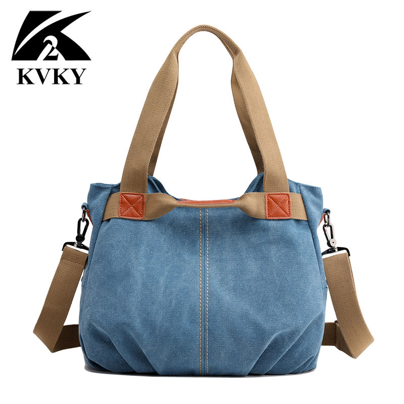Image 3 - KVKY Brand Hot Fold Casual Tote Womens Handbag Shoulder Crossbody Bags Canvas High Capacity Bag for Women Female bolsa femininaTop-Handle Bags   -