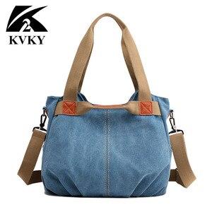 Image 3 - KVKY Brand Hot Fold Casual Tote Womens Handbag Shoulder Crossbody Bags Canvas High Capacity Bag for Women Female bolsa feminina