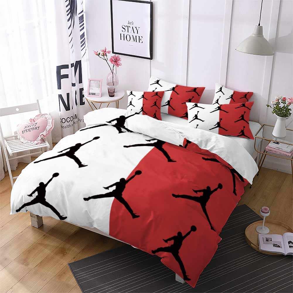 Deporte postura de jugador de baloncesto mitad blanco funda nórdica rojo chico hombres de una sola cama doble Hogar, dormitorio edredón cubre