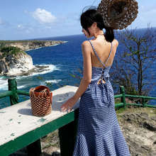 Spring and summer new style Seaside holiday plaid dress Open back beach dress Lace long dress ибп eaton 5130 2500 rt 2u