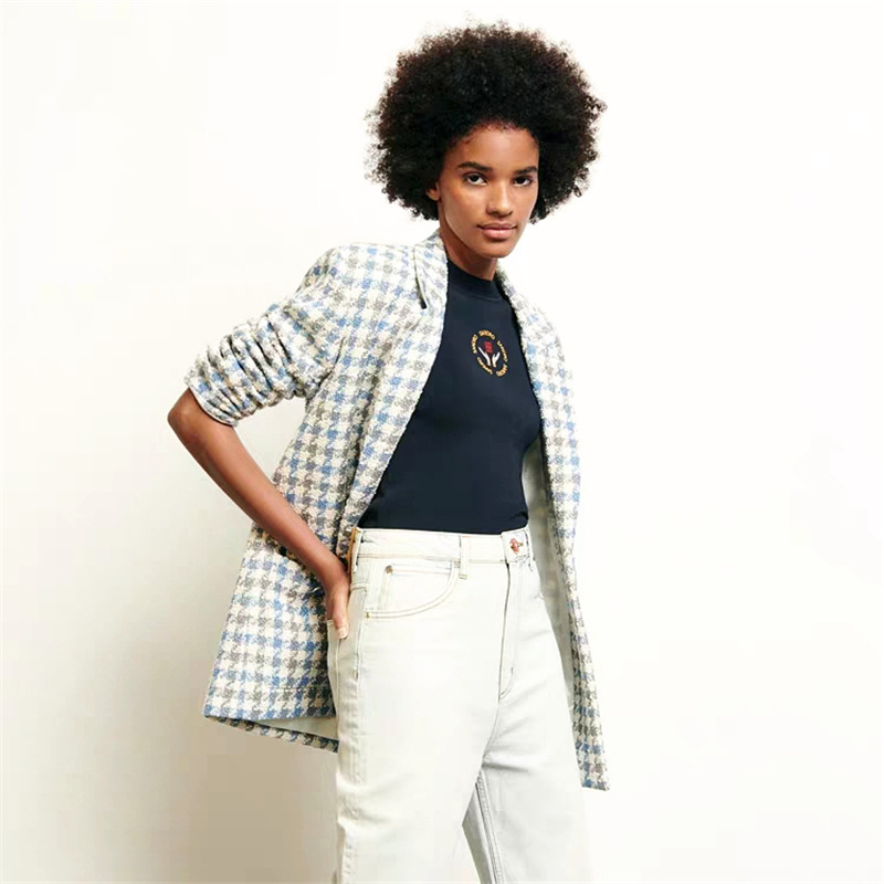 2020 Spring And Summer New Fresh Blue Plaid Women Woolen Blazer Coat