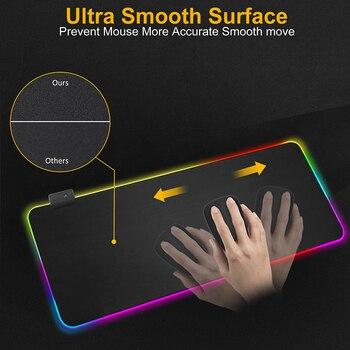 Alfombrilla de ratón para Gaming, alfombrilla grande RGB para ratón, alfombrilla XXL para ratón, alfombrilla grande para ratón, alfombrilla para PC, escritorio, alfombrilla para jugar con retroiluminación 2