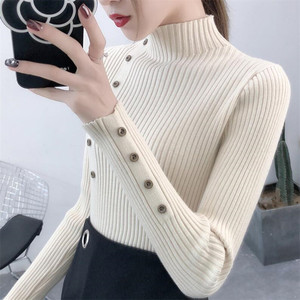 2019 Women Autumn Knitted Sweater Solid Knitted Female Cotton Soft Elastic Color Pullovers Button Full Sleeve Turtleneck