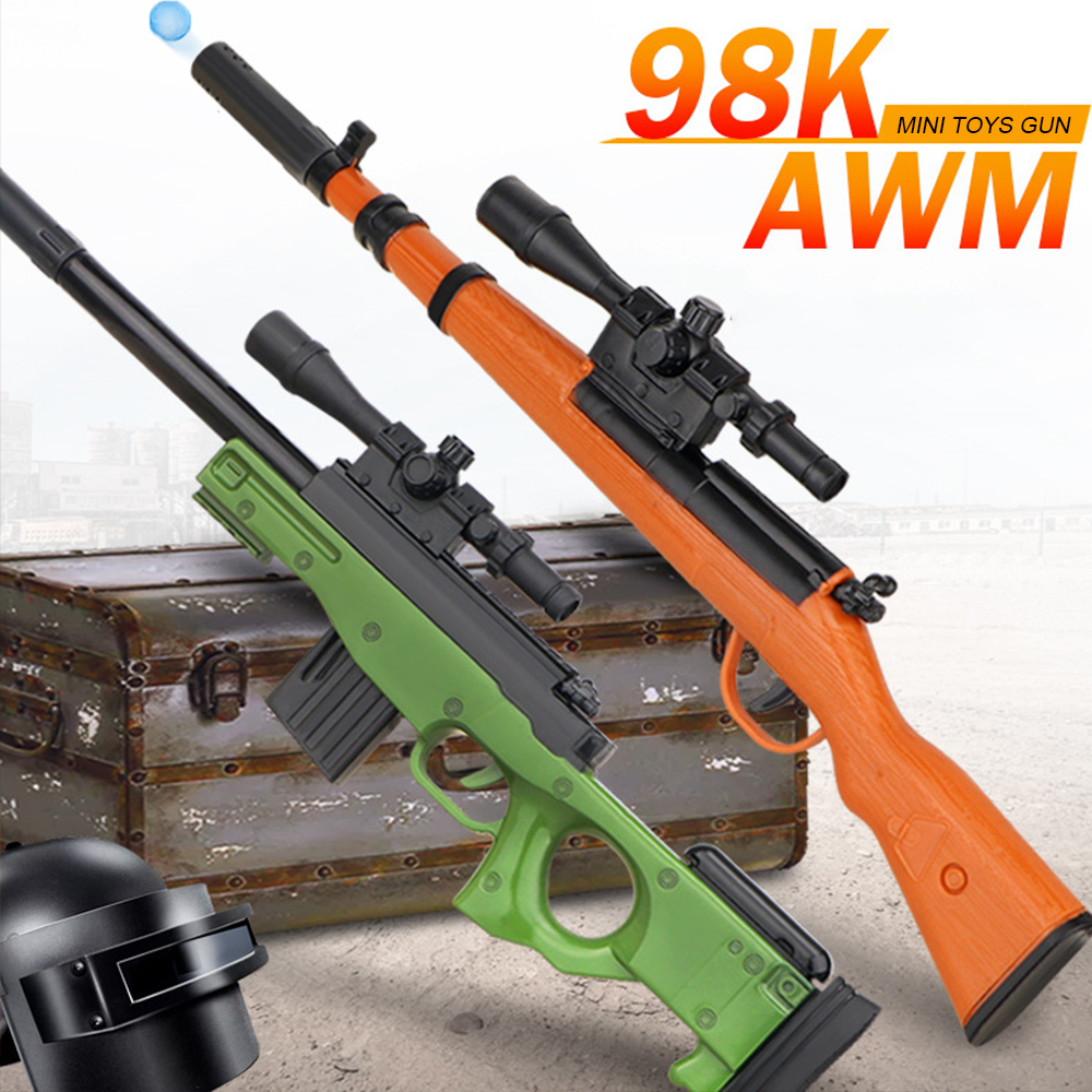 Plastic Toy Gun For Children 98K AWM Rifle Water Bullet Gun Boys Sniper Manual Loading Playerunkonwn's Battlegrounds Kids Gifts