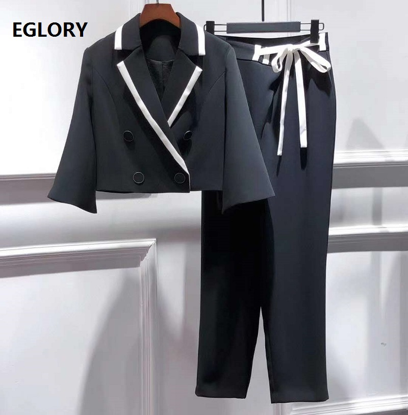 Top Quality New Pants & Capris Set 2020 Autumn Style Women Notched Collar Flare Sleeve Crop Tops Coat+Skinny Pants Sets 2 Piece
