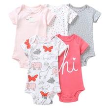 Summer Baby Boys Girls Clothes Short Sleeve 5 pcs Bodysuit Pack Children Kids Set Newborn Bodysuits 6 Months to 24 Bebes